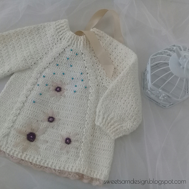 Lace Embellished Baby Sweater Free Crochet Pattern