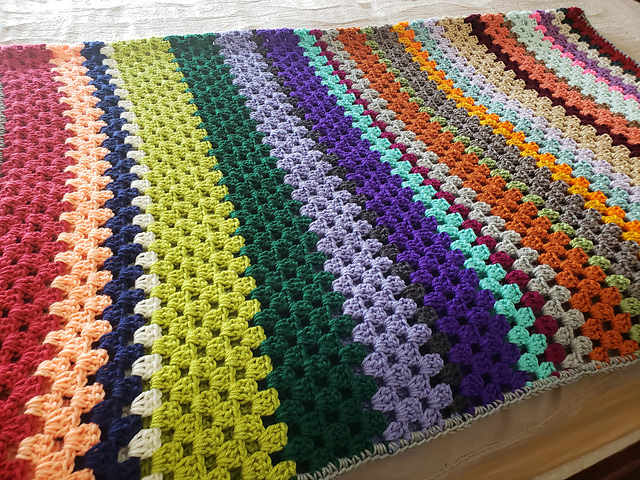 Granny Stripe Blanket Free Crochet Pattern Free Crochet Patterns