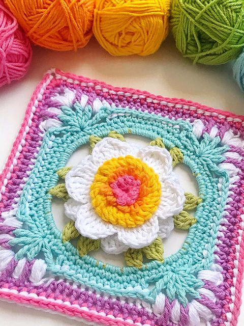 Picture Perfect Peony Square Free Crochet Pattern Free