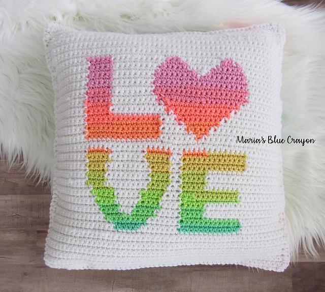 Love Pillow Cover Free Crochet Pattern Free Crochet Patterns