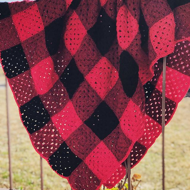 Plaid Granny Square Blanket Free Crochet Pattern Free
